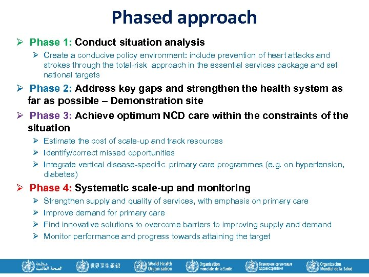 Phased approach Ø Phase 1: Conduct situation analysis Ø Create a conducive policy environment: