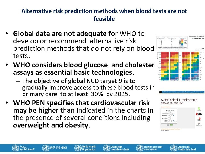 Alternative risk prediction methods when blood tests are not feasible • Global data are