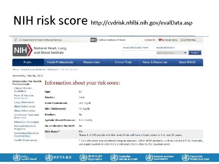 NIH risk score http: //cvdrisk. nhlbi. nih. gov/eval. Data. asp