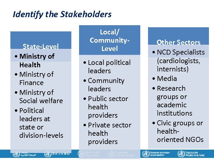 Identify the Stakeholders State-Level • Ministry of Health • Ministry of Finance • Ministry