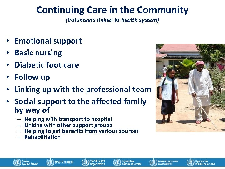 Continuing Care in the Community (Volunteers linked to health system) • • • Emotional