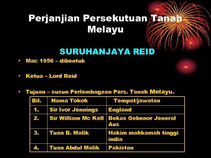 Perjanjian Persekutuan Tanah Melayu SURUHANJAYA REID • Mac 1956 – dibentuk • Ketua –