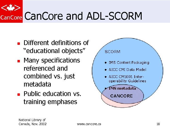 """Can. Core and ADL-SCORM n n n Different definitions of """"educational objects"""" Many specifications"""