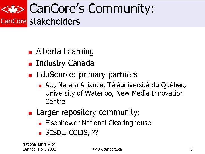 Can. Core's Community: stakeholders n n n Alberta Learning Industry Canada Edu. Source: primary