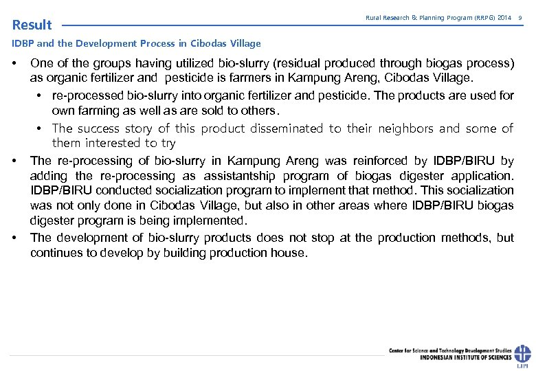 Result Rural Research & Planning Program (RRPG) 2014 IDBP and the Development Process in