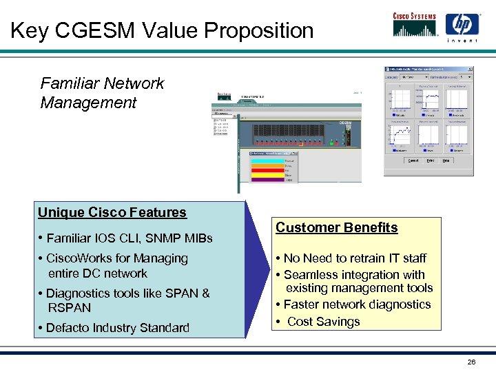 Key CGESM Value Proposition Familiar Network Management Unique Cisco Features • Familiar IOS CLI,