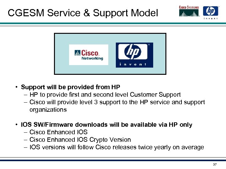 CGESM Service & Support Model • Support will be provided from HP – HP