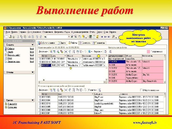Выполнение работ Контроль выполненых работ по заявкам 1 C Franchaising FAST SOFT www. fastsoft.