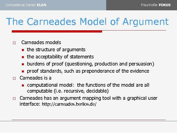 Competence Center ELAN Fraunhofer FOKUS The Carneades Model of Argument o o o Carneades