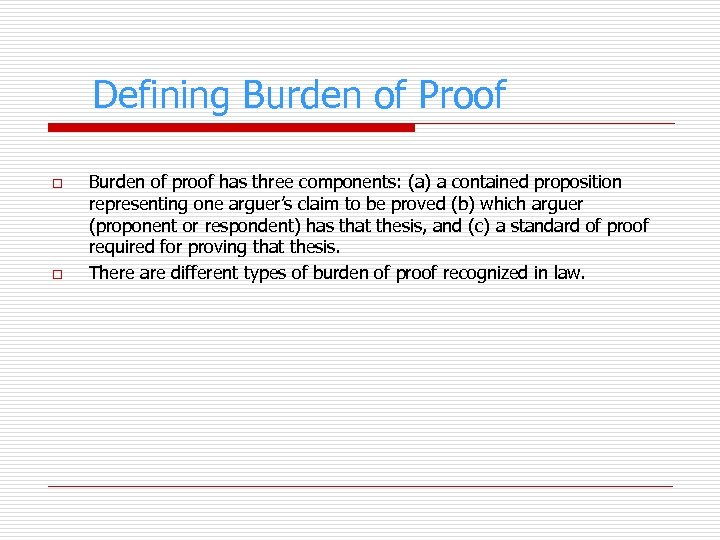 Defining Burden of Proof o o Burden of proof has three components: (a) a