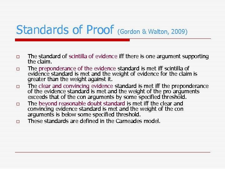 Standards of Proof (Gordon & Walton, 2009) o o o The standard of scintilla