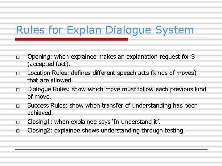 Rules for Explan Dialogue System o o o Opening: when explainee makes an explanation