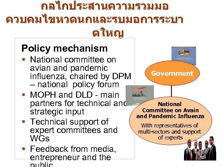 กลไกประสานความรวมมอ ควบคมไขหวดนกและรบมอการระบา ดใหญ Policy mechanism § National committee on avian and pandemic influenza, chaired