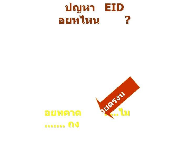 ปญหา EID อยทไหน ? งน ร อยทคาด. . . . ถง ต ย อ.
