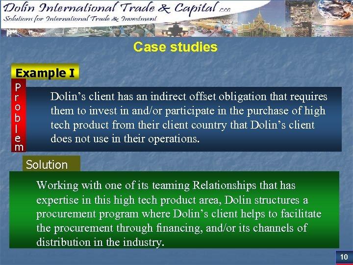 Case studies Example I P r o b l e m Dolin's client has