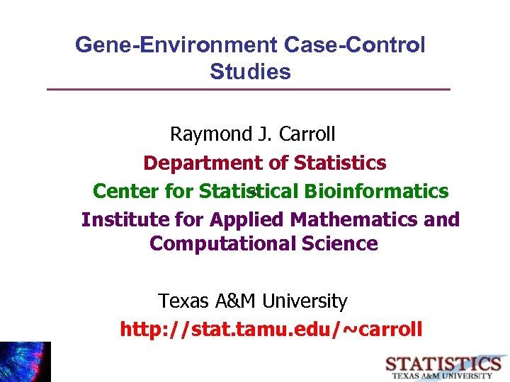 Gene-Environment Case-Control Studies Raymond J. Carroll Department of Statistics Center for Statistical Bioinformatics Institute
