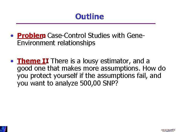 Outline • Problem Case-Control Studies with Gene: Environment relationships • Theme II There is