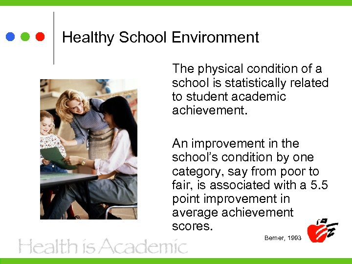 Healthy School Environment The physical condition of a school is statistically related to student