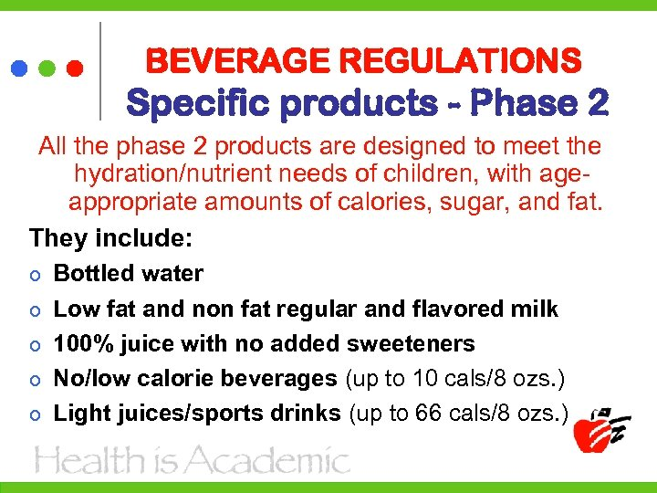 BEVERAGE REGULATIONS Specific products - Phase 2 All the phase 2 products are designed