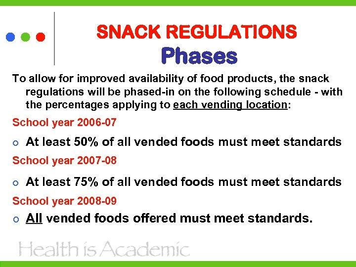 SNACK REGULATIONS Phases To allow for improved availability of food products, the snack regulations