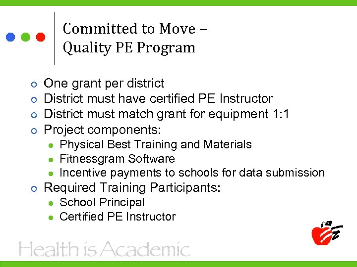 Committed to Move – Quality PE Program One grant per district District must have