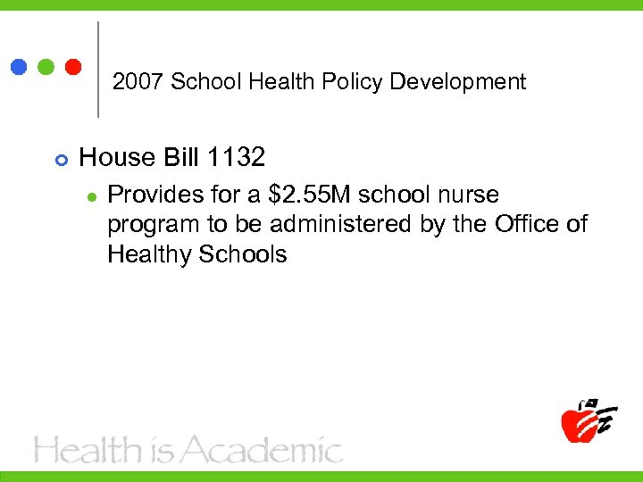 2007 School Health Policy Development House Bill 1132 l Provides for a $2. 55