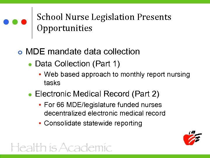 School Nurse Legislation Presents Opportunities MDE mandate data collection l Data Collection (Part 1)