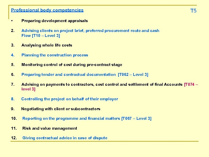 Professional body competencies T 5 • Preparing development appraisals 2. Advising clients on project