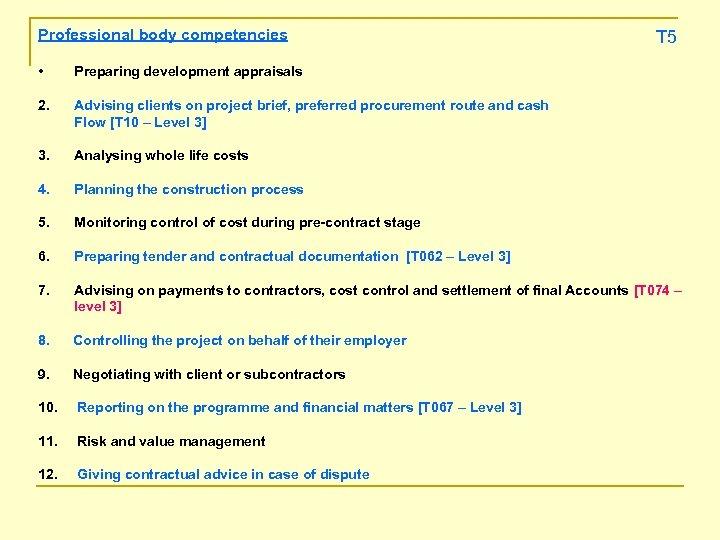 Professional body competencies T 5 • Preparing development appraisals 2. Advising clients on project