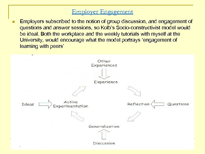 Employer Engagement n Employers subscribed to the notion of group discussion, and engagement of