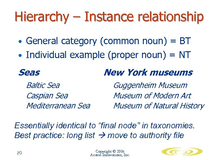 Hierarchy – Instance relationship • General category (common noun) = BT • Individual example
