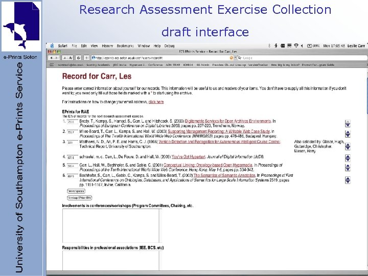 Research Assessment Exercise Collection draft interface