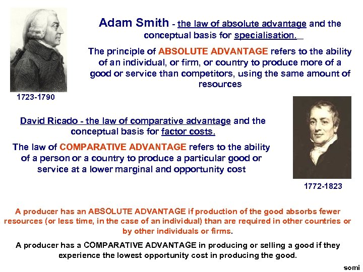 Adam Smith - the law of absolute advantage and the conceptual basis for specialisation.