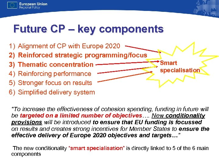 Future CP – key components 1) 2) 3) 4) 5) 6) Alignment of CP