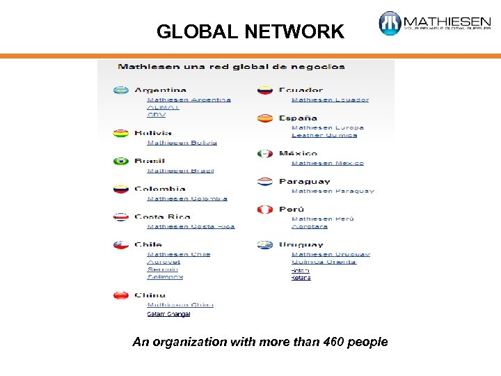 GLOBAL NETWORK An organization with more than 460 people