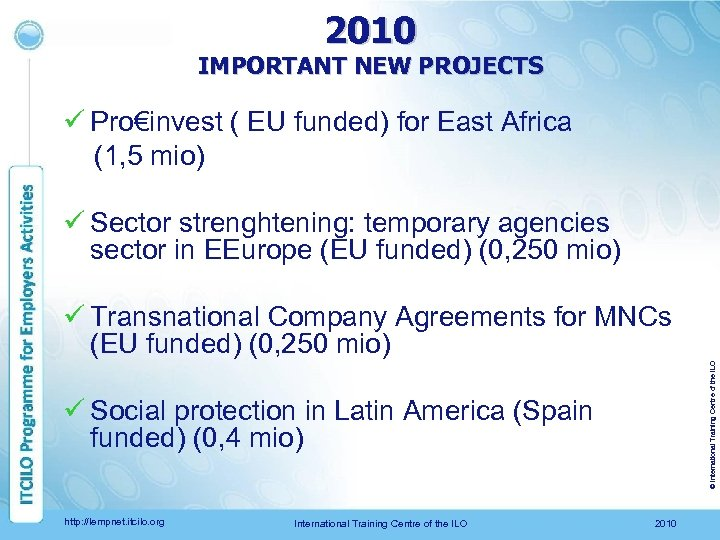 2010 IMPORTANT NEW PROJECTS ü Pro€invest ( EU funded) for East Africa (1, 5