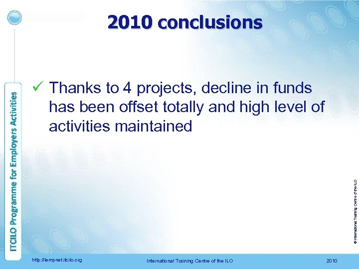2010 conclusions © International Training Centre of the ILO ü Thanks to 4 projects,
