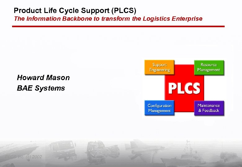 Product Life Cycle Support (PLCS) The Information Backbone to transform the Logistics Enterprise Howard