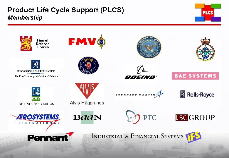 Product Life Cycle Support (PLCS) Membership Finnish Defence Forces PLCS Inc. (c) 2002 12