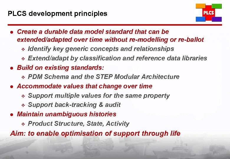 PLCS development principles l l Create a durable data model standard that can be