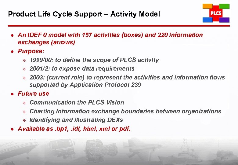 Product Life Cycle Support – Activity Model l l An IDEF 0 model with