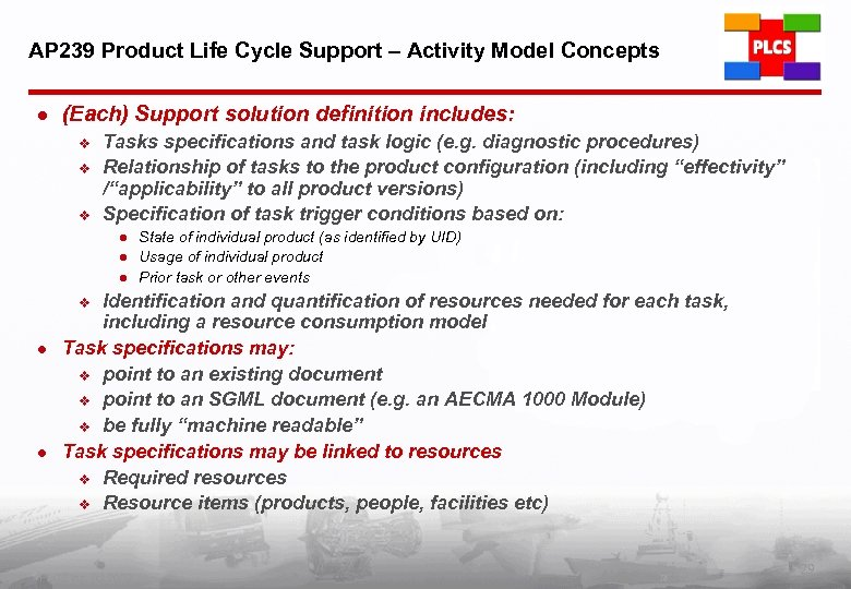 AP 239 Product Life Cycle Support – Activity Model Concepts l (Each) Support solution