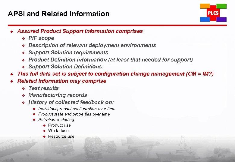 APSI and Related Information l l l Assured Product Support Information comprises v PIF