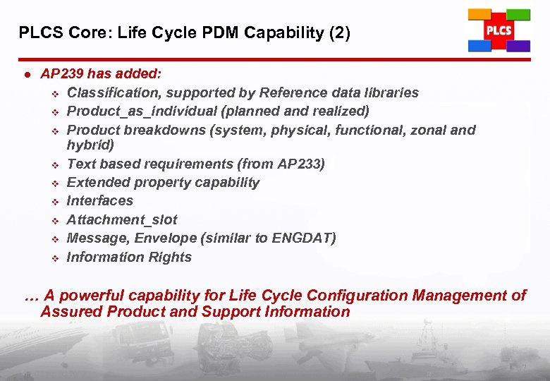 PLCS Core: Life Cycle PDM Capability (2) l AP 239 has added: v Classification,