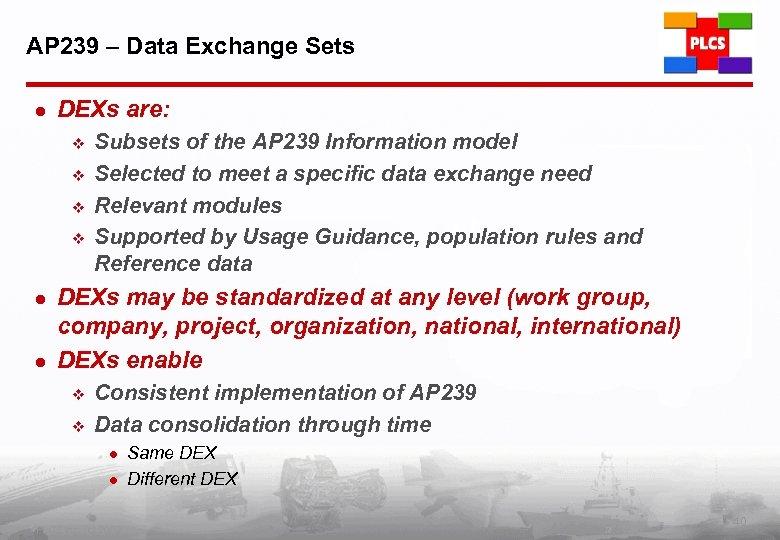 AP 239 – Data Exchange Sets l DEXs are: v v l l Subsets