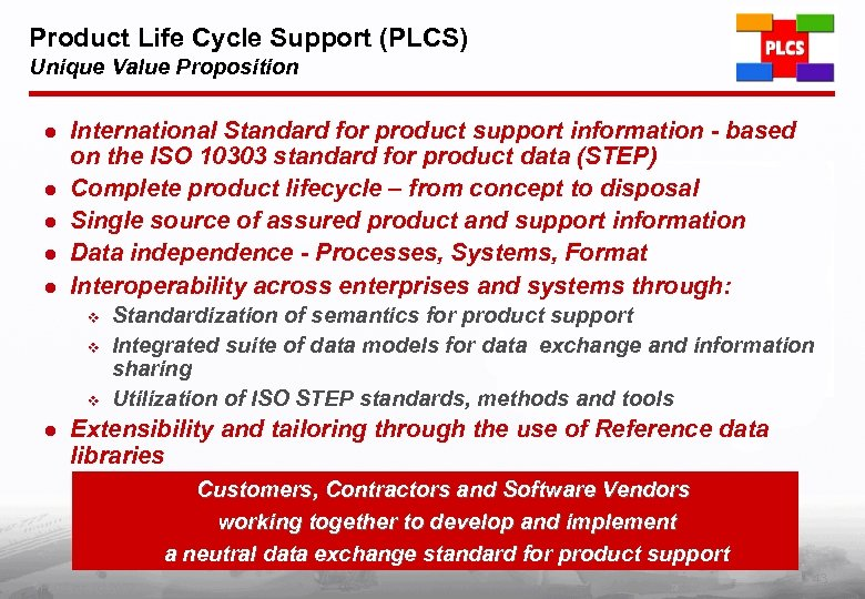 Product Life Cycle Support (PLCS) Unique Value Proposition l l l International Standard for