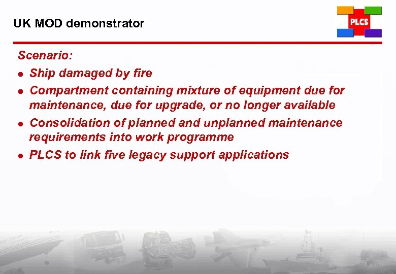 UK MOD demonstrator Scenario: l Ship damaged by fire l Compartment containing mixture of