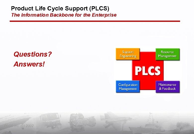 Product Life Cycle Support (PLCS) The Information Backbone for the Enterprise Questions? Answers! PLCS