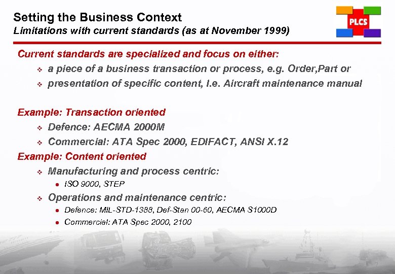 Setting the Business Context Limitations with current standards (as at November 1999) Current standards