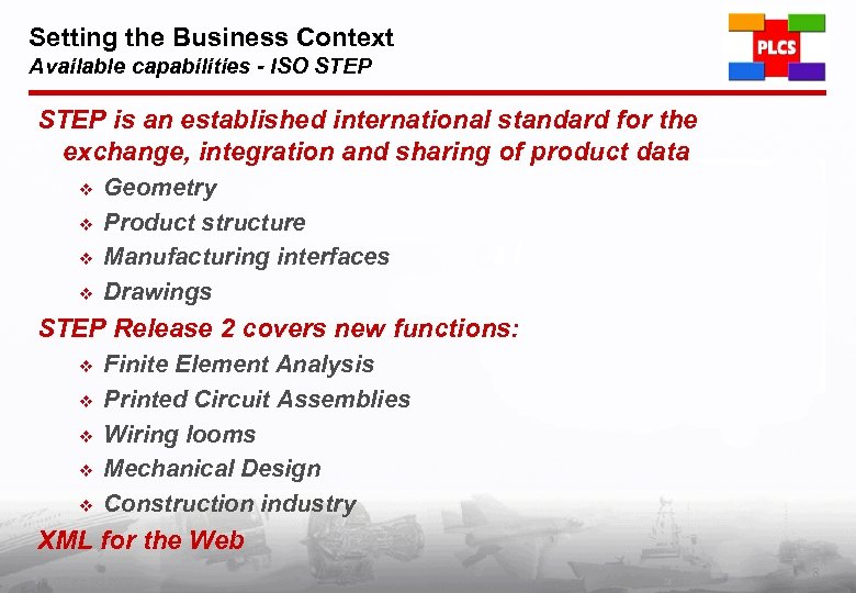Setting the Business Context Available capabilities - ISO STEP is an established international standard